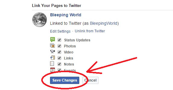 Confirm and save changes on facebook To Start Posting