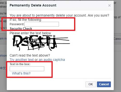 Delete Facebook Account by entering your password and captcha