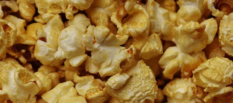 Delicious movie theater popcorn with extra butter