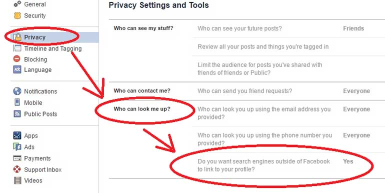 remove Facebook profile from google search by finding the privacy setting