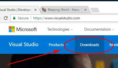 Click Downloads on the Free Visual Studio Community Edition