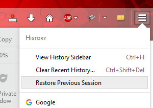 new firefox how to get restore previous session