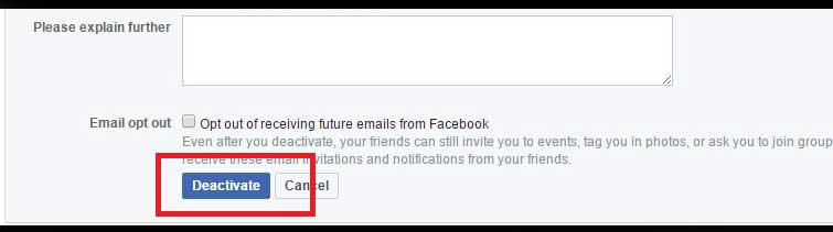 Proceed To Deactivate Your Facebook Account