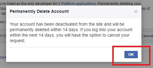 Facebook Gives You 14 day To Reverse the Delete Account