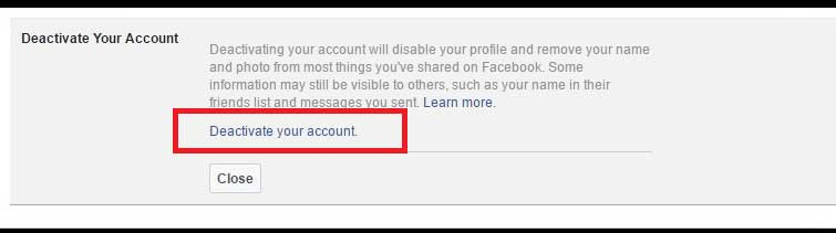 Deactivating your Facebook Account By Clicking Link