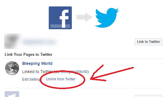 How to unlink facebook from twitter Social media network