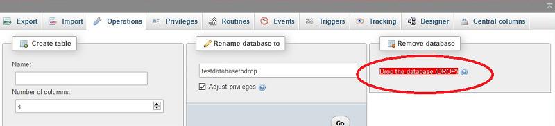 phpmyadmin login homepage drop database