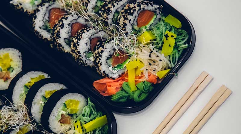 Different types of sushi rolls