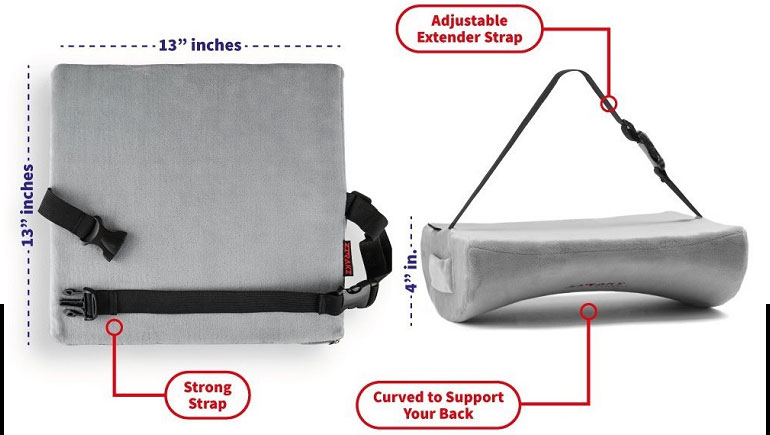 Lumbar Support Cushion Memory Foam Back strap for chair