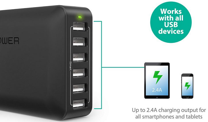 RAVPower USB Charging Station Quicly Charges Iphones