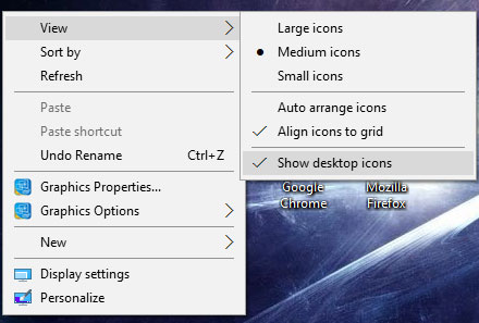Right Click Show Desktop Icons On Computer Screen