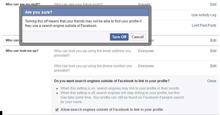 remove your Facebook profile from google search privacy
