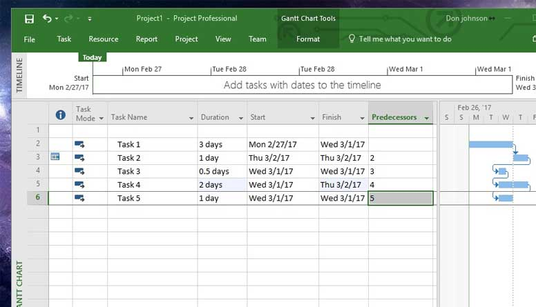 how to auto calculate project dates ms project